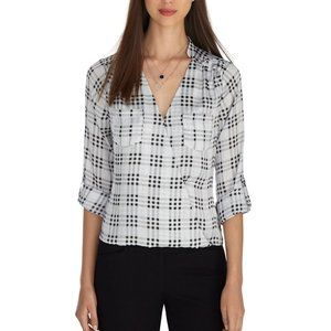 WHBM 14 ROLL SLEEVE PLAID SURPLICE BLOUSE TOP NEW